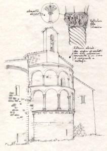 Esterno con abside e particolare delle colonnine
